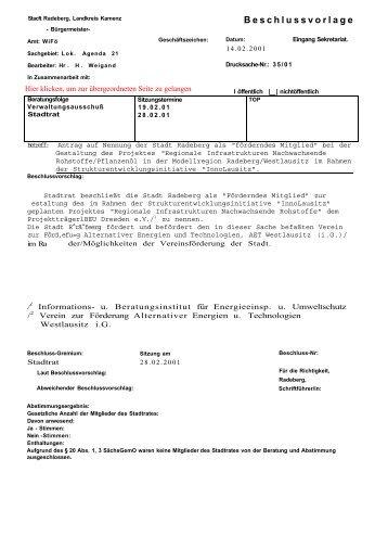 Beschlussvorlage - Familie Spiegel in Radeberg
