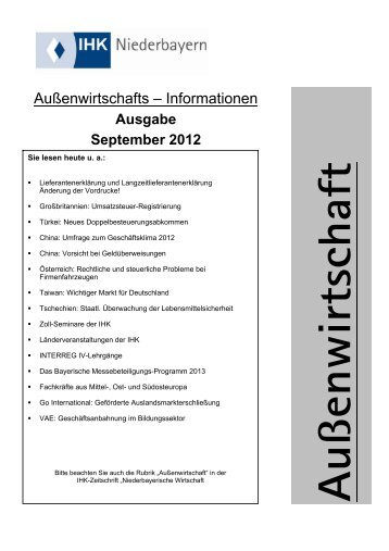 Ausgabe September 2012 - IHK Niederbayern