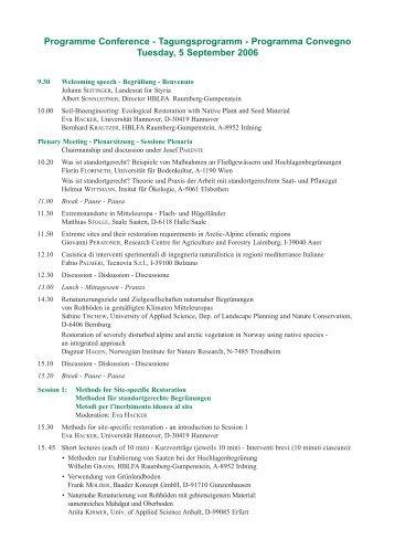 Link zum Tagungsprogramm als PDF - Ecological Restoration with ...