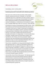 Brandenburg präsentiert Produktvielfalt auf der Weltleitmesse BioFach