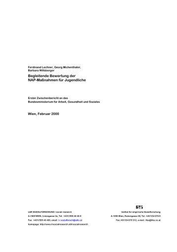 Begleitende Bewertung der NAP-Maßnahmen für Jugendliche - L&R ...