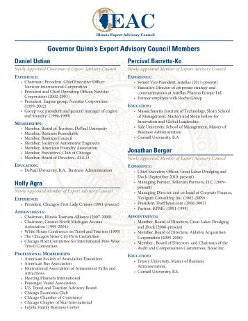 Governor Quinn's Export Advisory Council Members - State of Illinois