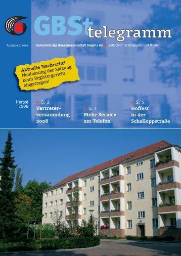 Service am Telefon - Gemeinnützige Baugenossenschaft Steglitz eG