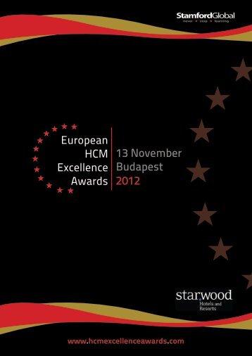 European HCM Excellence Awards 13 November Budapest 2012