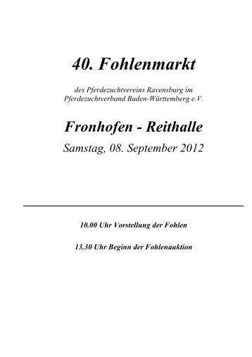 40. Fohlenmarkt - Pferdezuchtverband Baden-Württemberg