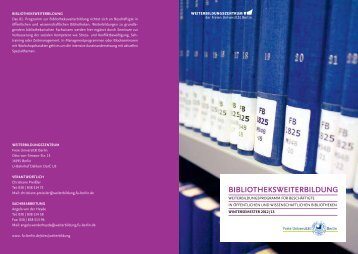 BIBLIOTHEKSWEITERBILDUNG - Freie Universität Berlin
