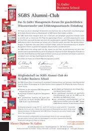 Ziele SGBS Alumni-Club - St. Galler Business School