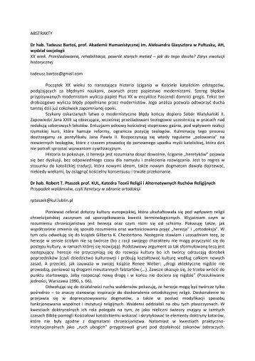 ABSTRAKTY Dr hab. Tadeusz Bartoś, prof. Akademii ...