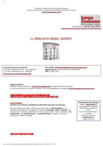 Il Mercato degli Eventi in Italia - Event Market in Italy - Largo Consumo