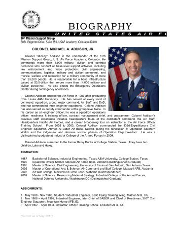 Navy bio format for Air force bio template