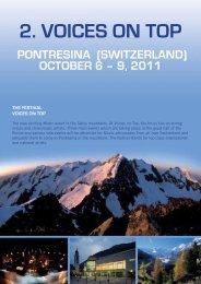 2. voices on top pontresina (switzerland) october 6 – 9 ... - Hausmix