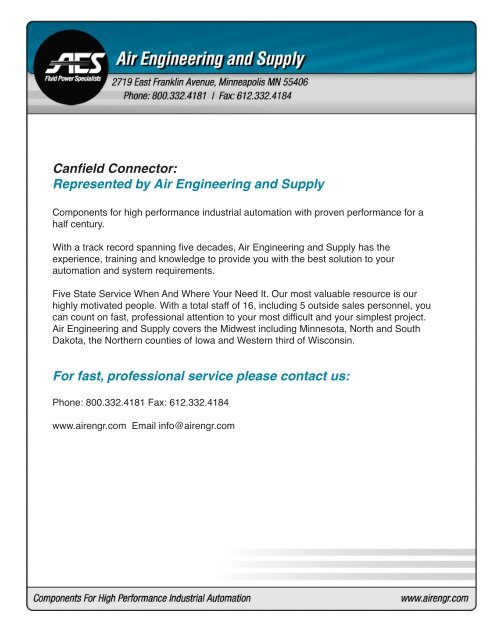 Canfield Connector: Represented by Air Engineering and