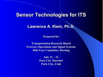 Sensor Technologies for ITS - Freeway Operations Committee AHB20