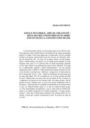 espace psychique, aire de créativité - SPIRALE revue de recherches ...