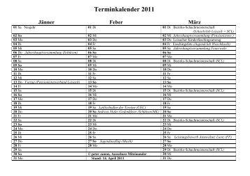 Terminkalender 2011 Jänner Feber März - Leisach