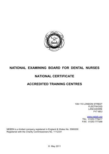 national examining board for dental nurses national certificate ...