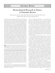 Biomechanical Research in Dance: A Literature Review