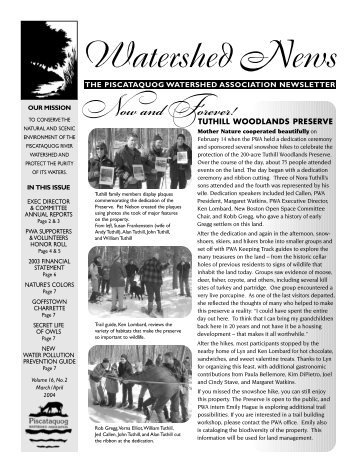 Watershed News - Piscataquog Land Conservancy