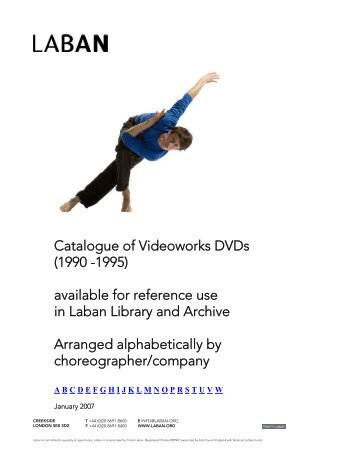 Catalogue of Videoworks DVDs (1990 -1995) available for ... - Laban