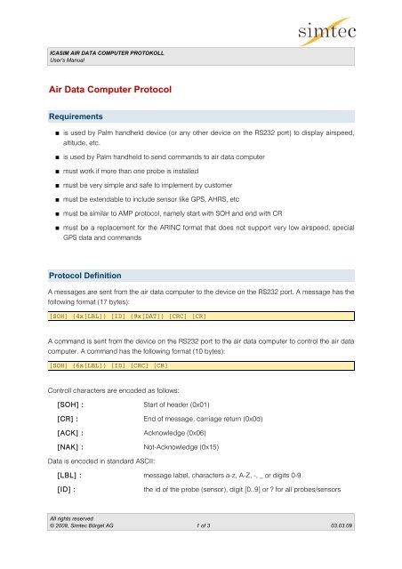 Air Data Computer Protocol - Icasim Flight Test Equipment