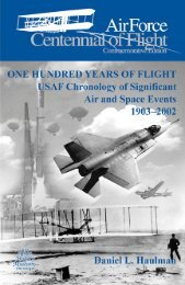 One Hundred Years of Flight USAF Chronology of Significant Air ...