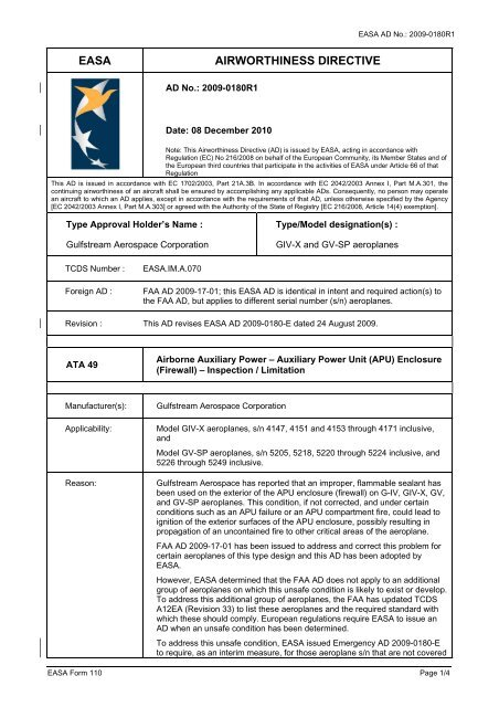 EASA AIRWORTHINESS DIRECTIVE