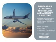 bombardier strategic technology and aircraft lifecycle
