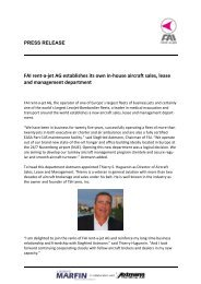 FAI rent-a-jet AG establishes its own in-house aircraft sales, lease ...