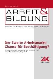 Der Zweite Arbeitsmarkt - Arbeiterkammer Kärnten