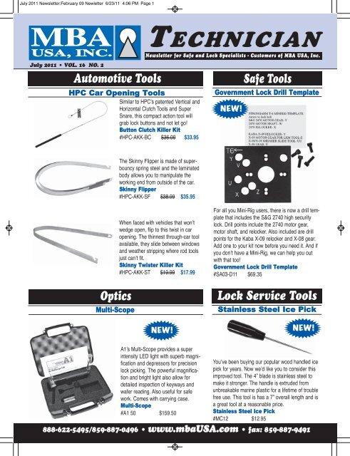 Lock Service Tools Safe Tools Lock Picks - MBA USA, Inc