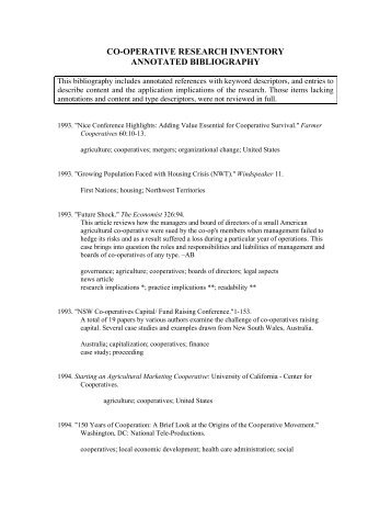 co-operative research inventory annotated bibliography