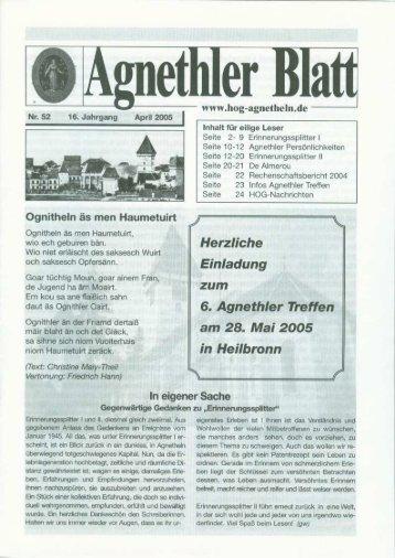 Agnethler Blatt Nr. 52 - HOG-Agnetheln