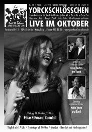 Vorschau: Live im November 2012 - Yorckschlösschen