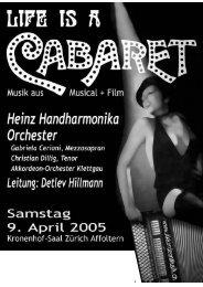 Konzertprogramm - Heinz Orchester Zürich-Oerlikon