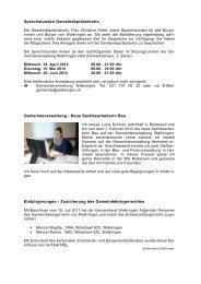 Mittwoch, 4. April 2012, 09.00 – 11.00 Uhr Wo - Walkringen