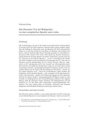 Das Deutsche: Von der Weltsprache zu einer europäischen Sprache ...