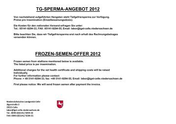 TG-SPERMA-ANGEBOT 2012 FROZEN-SEMEN-OFFER 2012