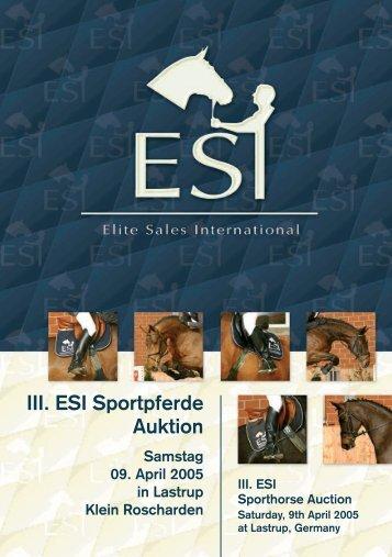 III. ESI Sportpferde Auktion Samstag 09. April 2005 in Lastrup Klein ...