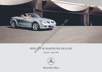 Preisliste Mercedes SLK, 8/2006 - mobilverzeichnis.de
