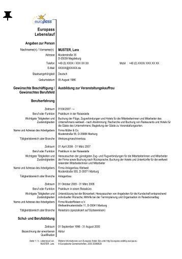 europasscedefopeuropaeu - Europischer Lebenslauf Muster