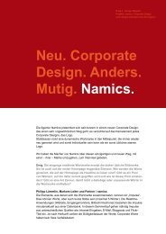 und jetzt. Nonstop. Namics. - Design made in Germany