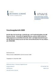 Forschungsbericht 2009 - EBZ Business School