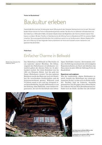 Ferien im Baudenkmal - Baukultur erleben - Schweizer Heimatschutz