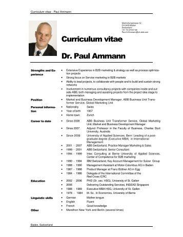 Curriculum vitae Dr. Paul Ammann - Berner Fachhochschule ...