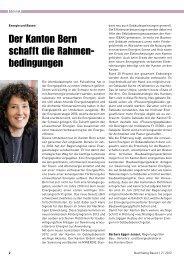 Der Kanton Bern schafft die Rahmen- bedingungen - Minergie