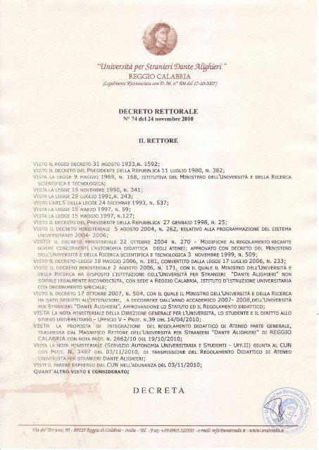 Calendario Appelli Unive.Scarica Il Decreto Universita Per Stranieri Dante Alighieri