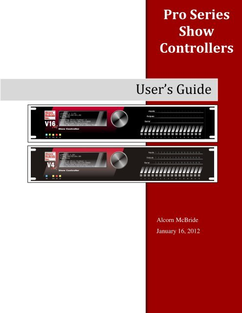 Pro Series Show Controllers User s Guide Alcorn McBride Inc