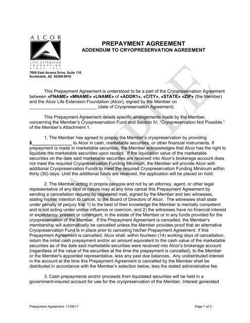Prepayment Agreement Alcor Life Extension Foundation