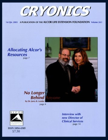 1st Quarter 2003 issue of Cryonics magazine - Alcor Life Extension ...