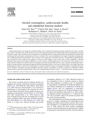 Alcohol consumption, cardiovascular health, and endothelial ...